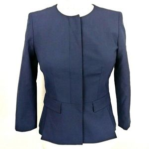 Ann Taylor Petite Navy Tailored Structured Jacket